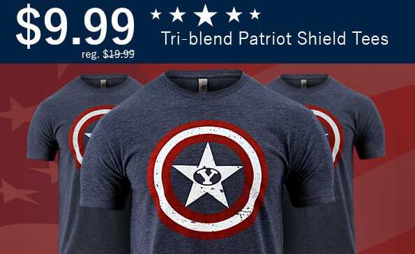 BYU Patriot Shield Tees $9.99