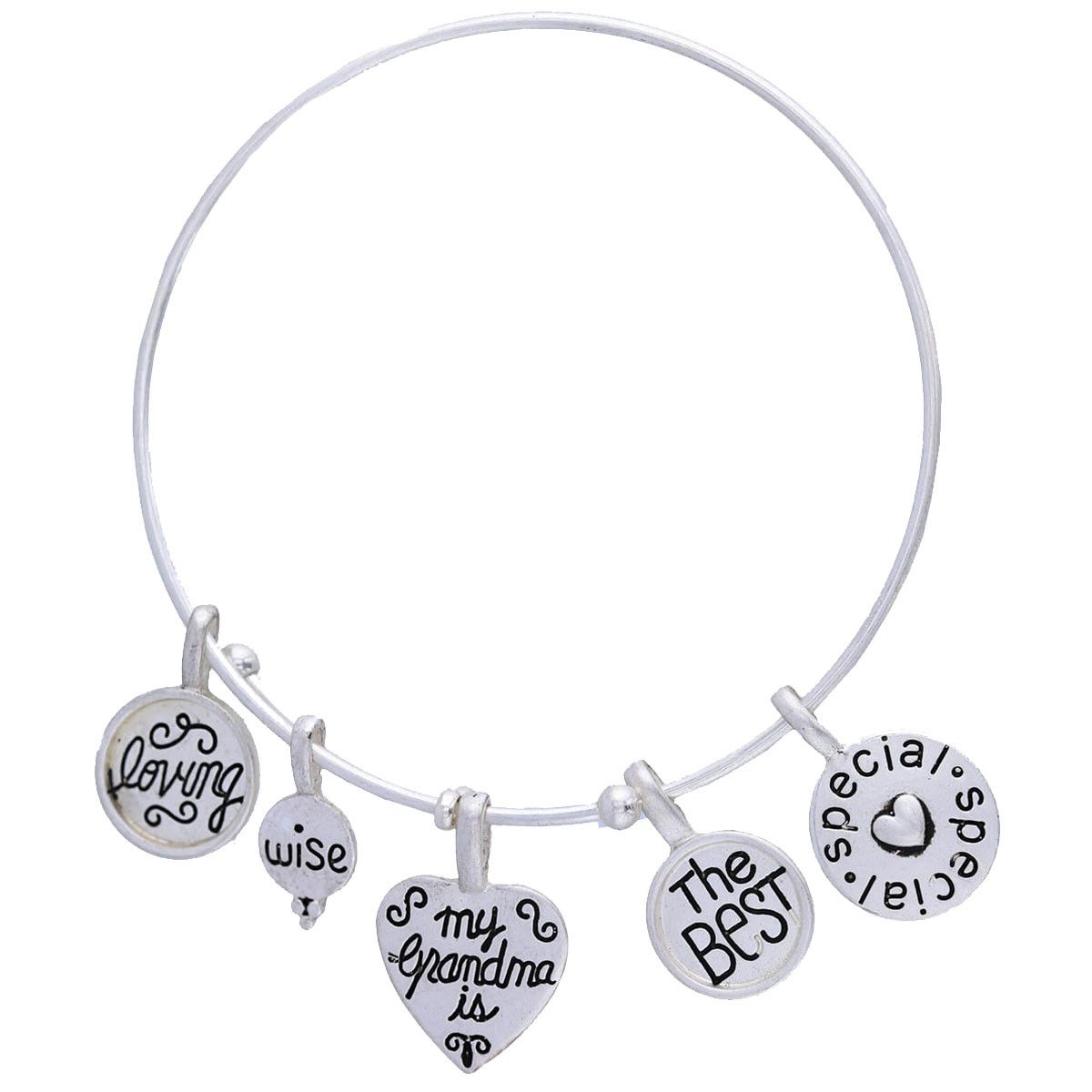 The Best Grandma Wire Charm Bracelet