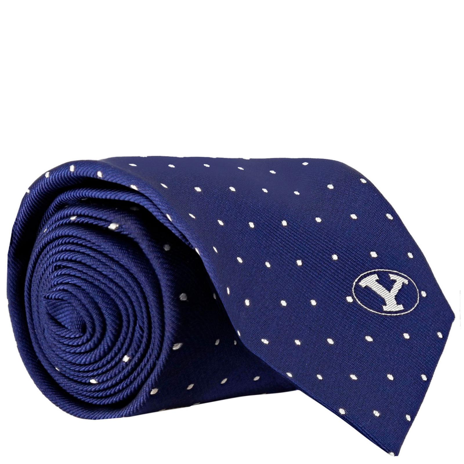 Oval Y Polka Dot BYU Silk Tie - BSC