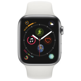 super popular cb12a 393b9 Apple Watch Series 4 (GPS + Cellular) Stainless Steel Case with White Sport  Band - 44mm