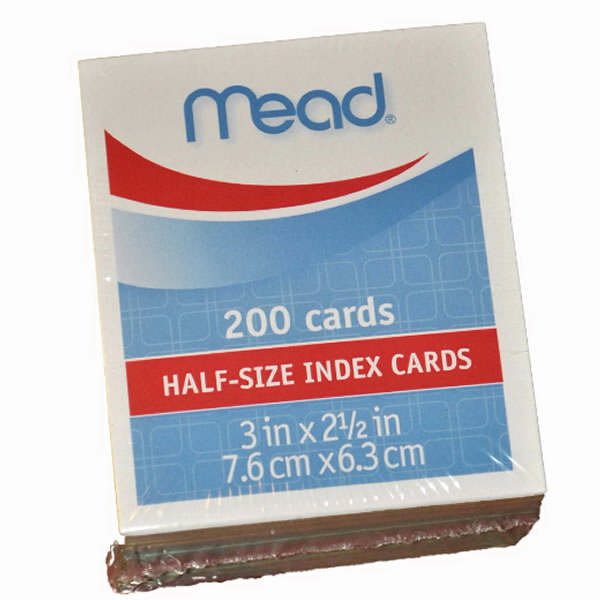 size index cards