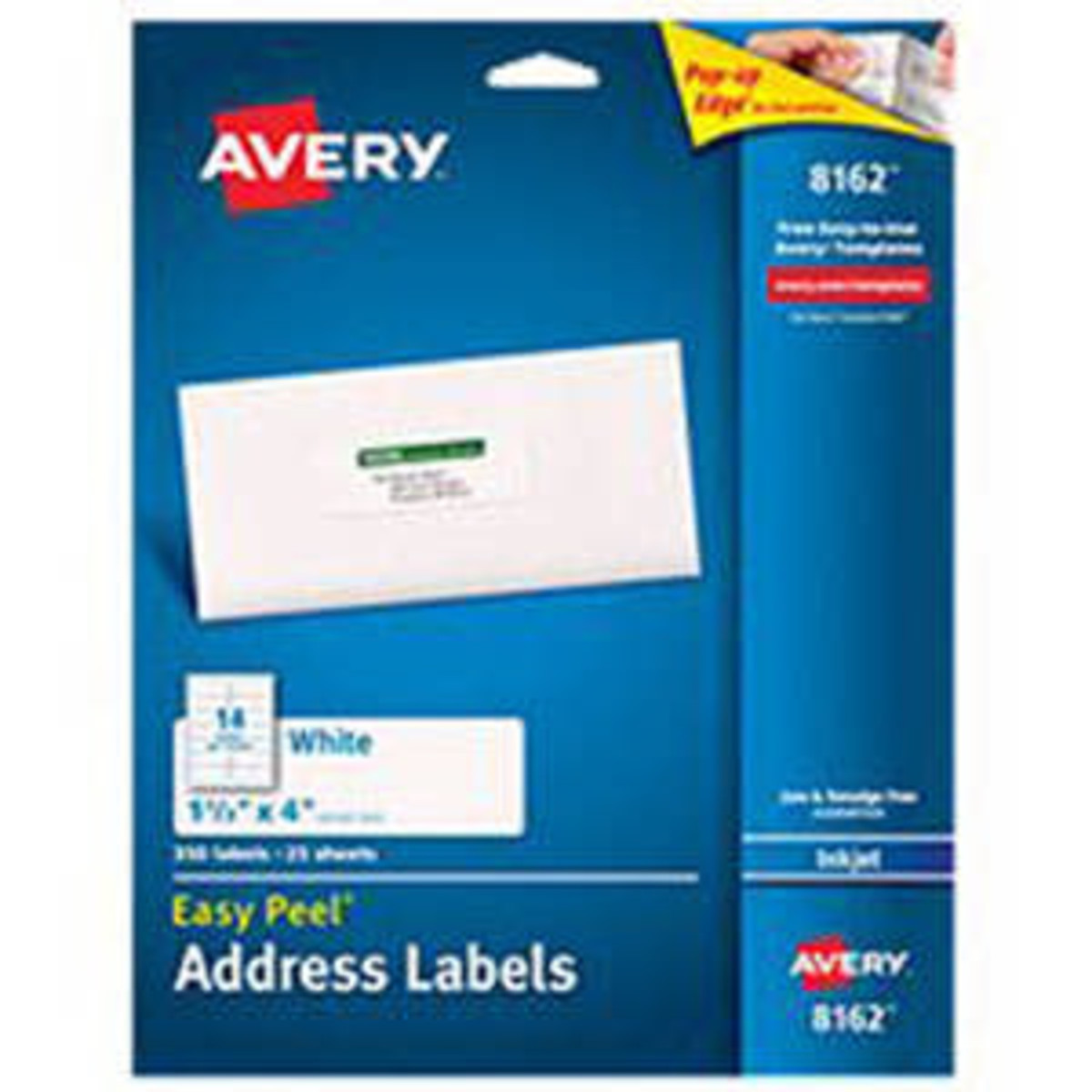 """Avery White Ink Jet Labels 1 1/3""""X4"""" 25 Sheet"""