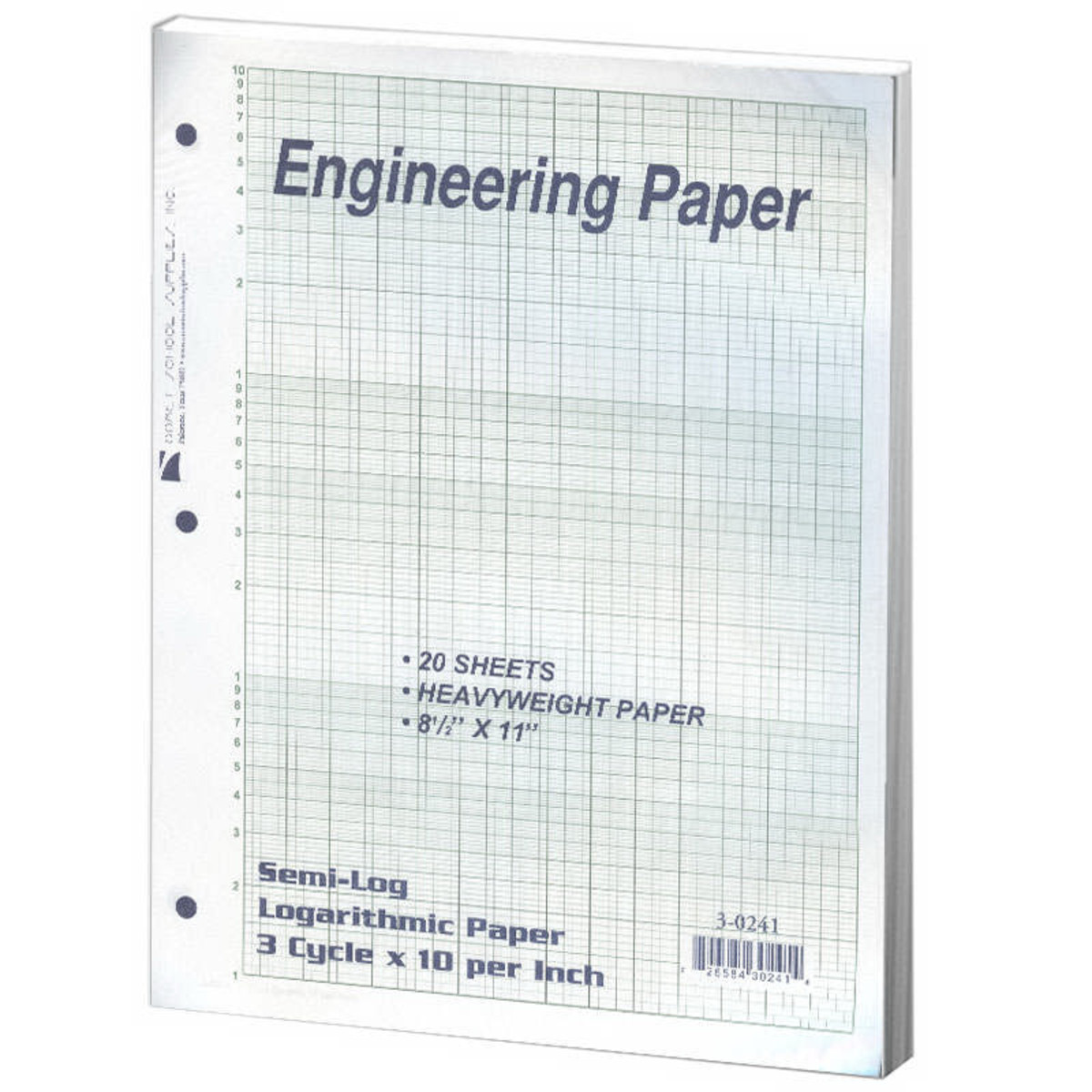 White 3 Cycle X 10 Semi-Log Graph Filler Paper Filler Paper