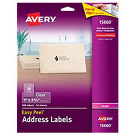avery clear laser label labels 1 x2 5 8 10 sheet
