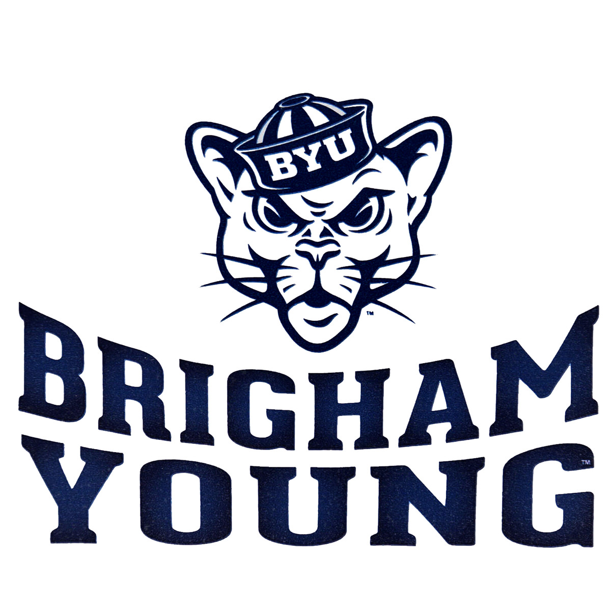 Sailor hat cougar over byu decal sticker 5 75 x 5